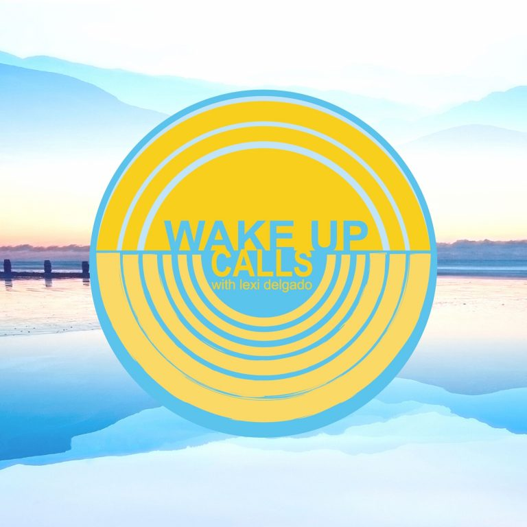 Wake Up Call logo over cool calm water